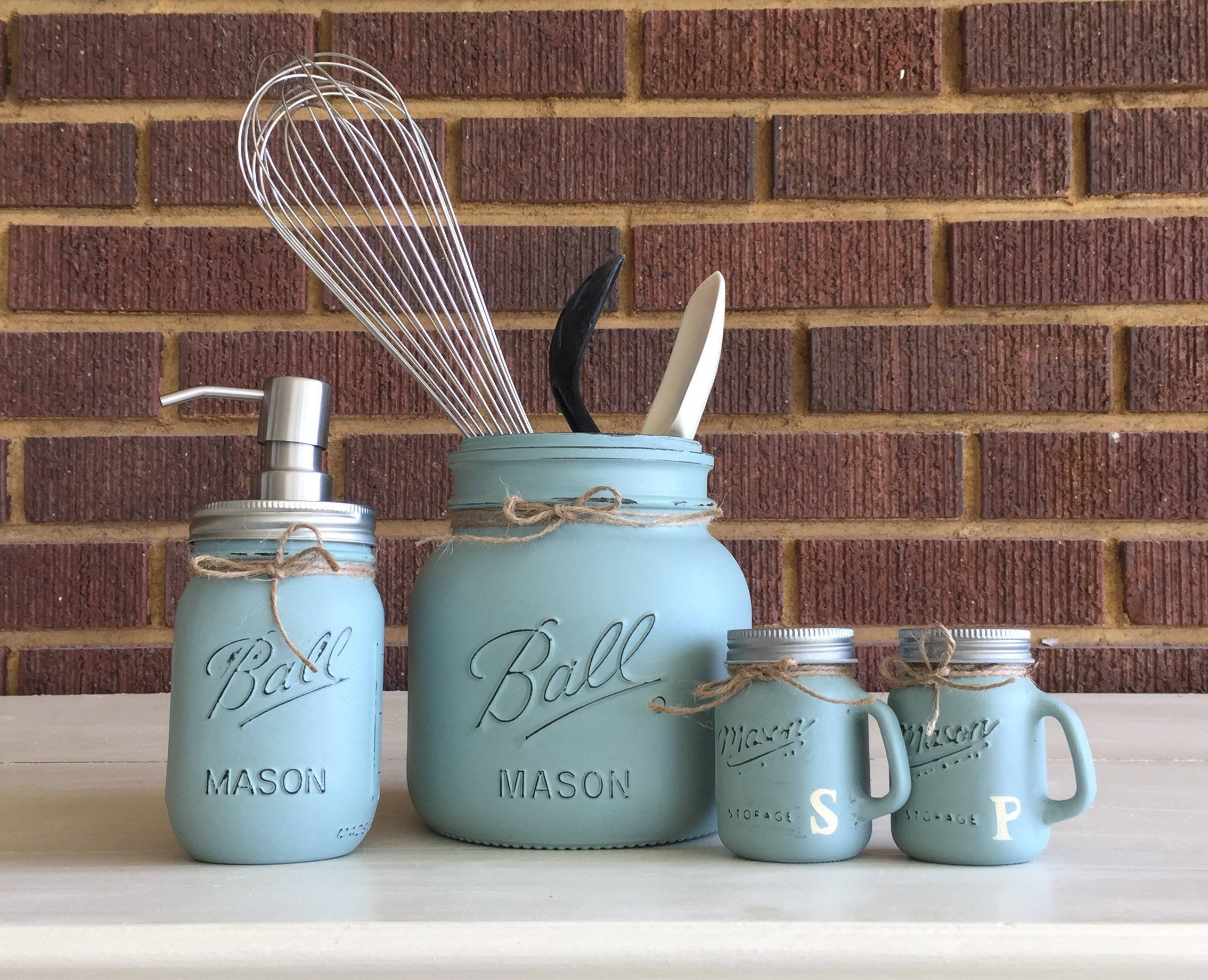 Mason Jar Decor Mason Jar Kitchen Decor Utensil Holder Salt