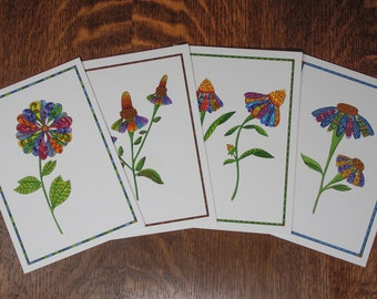Greeting card set, discount note cards, 4 for price of 3, handmade Daisy card, folk art card assortment, floral card, botanical greetings