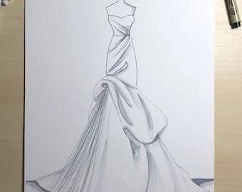Bridal Illustration-Monique Lhuillier Gown Illustration
