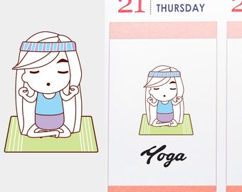 Yoga Planner Stickers, Suzy Fitness Doodle Stickers, Yoga Planner, Yoga Stickers