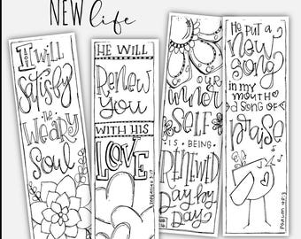 "Soul Inspired - Bible Journaling Template / Color your own bookmarks - ""New Life"" - digital download"