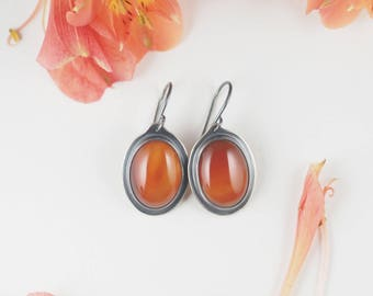 Earrings, Natural Carnelian Earrings, Sterling Silver Earrings