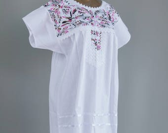 Hand Embroidered Mexican Dress White Cotton Lace Trim