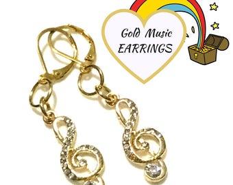Sparkling Musical Gold Earrings, On Trend Earrings, Music Themed Earrings,Unique Gold Earrings,Music Lover Earring Gift, Anytime Gift