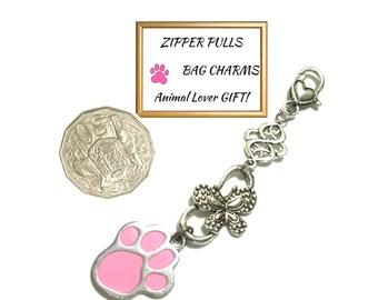Pink Paw & Silver Charmed Zipper Pull, Versatile Bag Dangle or Key Ring, Zipper Charm, Handbag Dangle, Animal Lovers gift