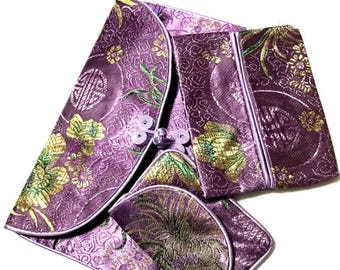 Lavender Satin Jewellery Pouches Great for Travelling, Satin Brocade Pouches for Cosmetic Organising, Friendship Gift for Special Cruise!