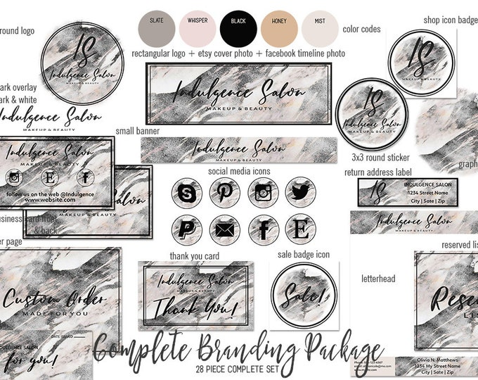 GRAY MARBLE Modern Etsy Shop Set Girl Boss Hand Lettered Font Branding Kit Package Cover Photo Banner Logo Business Card Social Media Icon