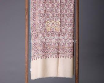 Pashmina Shawl Neem Jama Embroidery 96 Almond