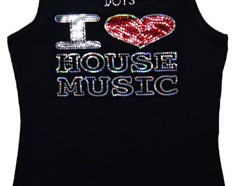 I Love House Music Bling Tank Top Dj Party sequins T-Shirt