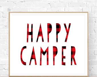 "8x10 ""Happy Camper"" + Buffalo Plaid Printable and Instant Download"