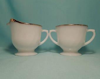 CREAMER SUGAR FIREKING Milk Glass 22k Gold Swirl Bowl Pitcher Set Antique Vintage Retro