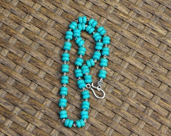 Men's Turquoise Abacus Stone Necklace ~ Unisex Necklace ~ Turquoise Howlite Stones ~ Hand Wired Jewellery ~ Gift for Dad ~ Hippie Style