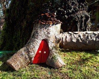 Woodland Fairy House with Red Double Doors, Pine Cone Shingle Roof & Lady Bug