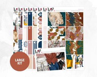 Sundays Large Kit | Full Boxes Checklists Functional Boxes Headers Littles Sidebar Extras Washi | Matte Glossy Planner Stickers