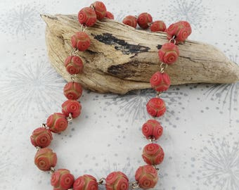 Salmon Pink Bead Necklace