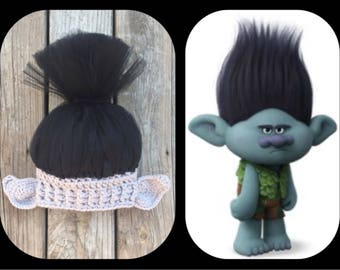 Branch Hat Troll Hat Branch Hat with hair Troll Halloween Costume Troll Hat with hair Troll Crochet Tulle Ready to Ship!