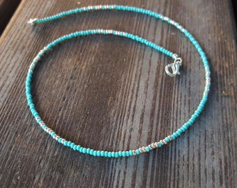 Turquoise Silver Seed Bead Choker Blue Beaded Necklace Minimal Jewelry OrangeKnot Light blue Silver Czech Glass Small Tiny Beads Necklace