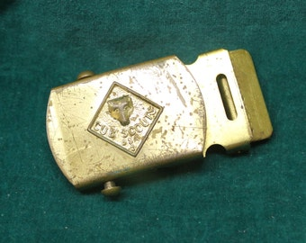 Vintage Cub Scouts Belt Buckle solid brass official Boy Scouts of America accessory BSA anchor hallmark from North & Judd Co.