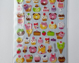 Kawaii Animal Bakery Sweet Shop Resin Sticker Sheet -  Kawaii Lolita Decora Fairy Kei Harajuku Cute Fashion
