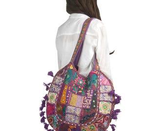 large beach bag hippie bag purple shoulder bag tribal bag embroidered bag - Large Tote Bags