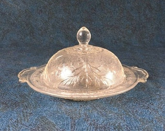 Vintage Anchor Hocking Sandwich Glass Round Domed Butter Dish with Handles