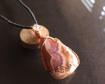 Rhodochrosite  Necklace, Rhodochrosite and Herkimer Diamond Necklace