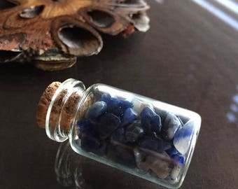 Bottle of Sodalite Crystals, Crystals in a Bottle