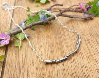 Silver Twig Necklace: Woodland Necklace, Silver Branch Necklace, Twig Necklace, Nature Jewellery