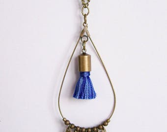Drop necklace in brass and Heather blue tassel
