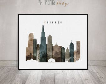 Chicago Poster Watercolor Skyline Print | ArtPrintsVicky.com