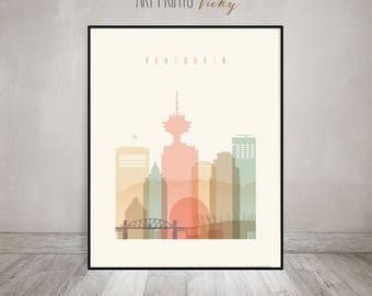 Vancouver art print, Poster, Travel Wall art, Vancouver skyline, Canada cityscape, City poster, Typography art, Home Decor, ArtPrintsVicky