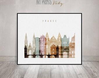 Prague art watercolor print, Prague wall art, Poster, Prague skyline, Czech Republic, wall decor, travel, gift, Home Decor, ArtPrintsVicky