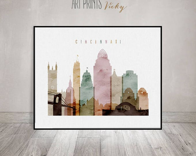 Cincinnati watercolor, print, poster, Ohio, Wall art, Cincinnati skyline, city prints, travel poster, Home decor, fine art ArtPrintsVicky.