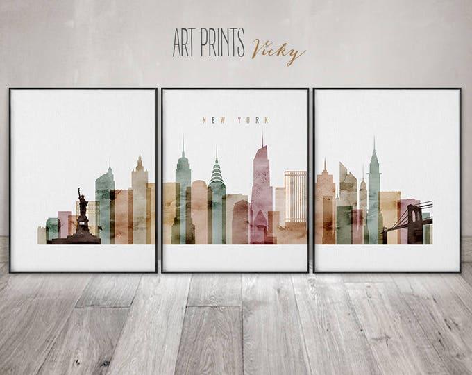 New York 3 print set, New York 3 poster set, Wall art, travel, NYC large wall art, NYC skyline set, city art, home decor, ArtPrintsVicky