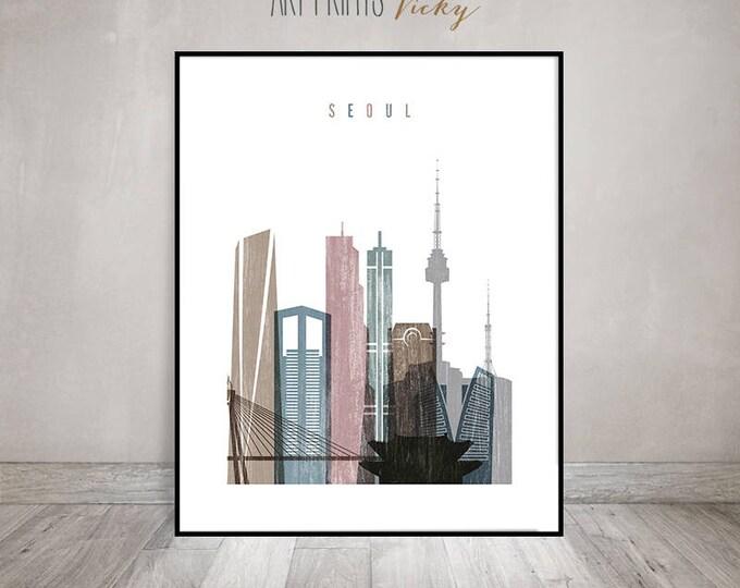 Seoul art print, Poster, Seoul skyline, Travel, Wall art, Distressed art, South Korea cityscape, City art, Home Decor, Gift, ArtPrintsVicky