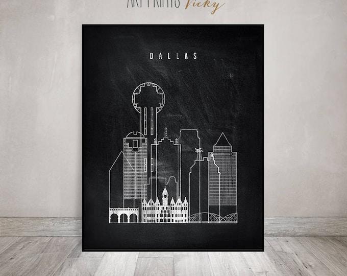 Dallas skyline, Dallas art print, Poster, Wall art, Texas, City prints, travel poster, chalkboard art, Home Decor, Gift, ArtPrintsVicky