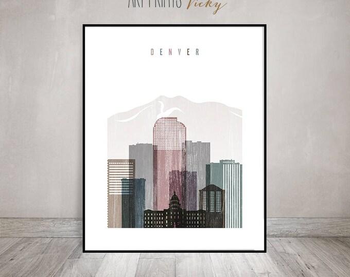 Denver skyline art, Denver print, Poster, Travel gift, Wall art, Colorado art, distressed art, City poster, Home Decor, ArtPrintsVicky