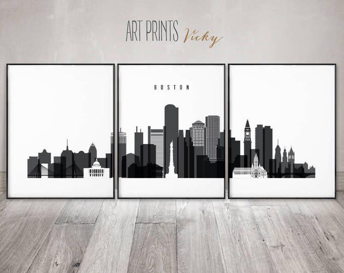 Boston set of prints, Boston skyline 3 pieces wall art, wall art, black and white, large wall art, travel gift, home decor, ArtPrintsVicky