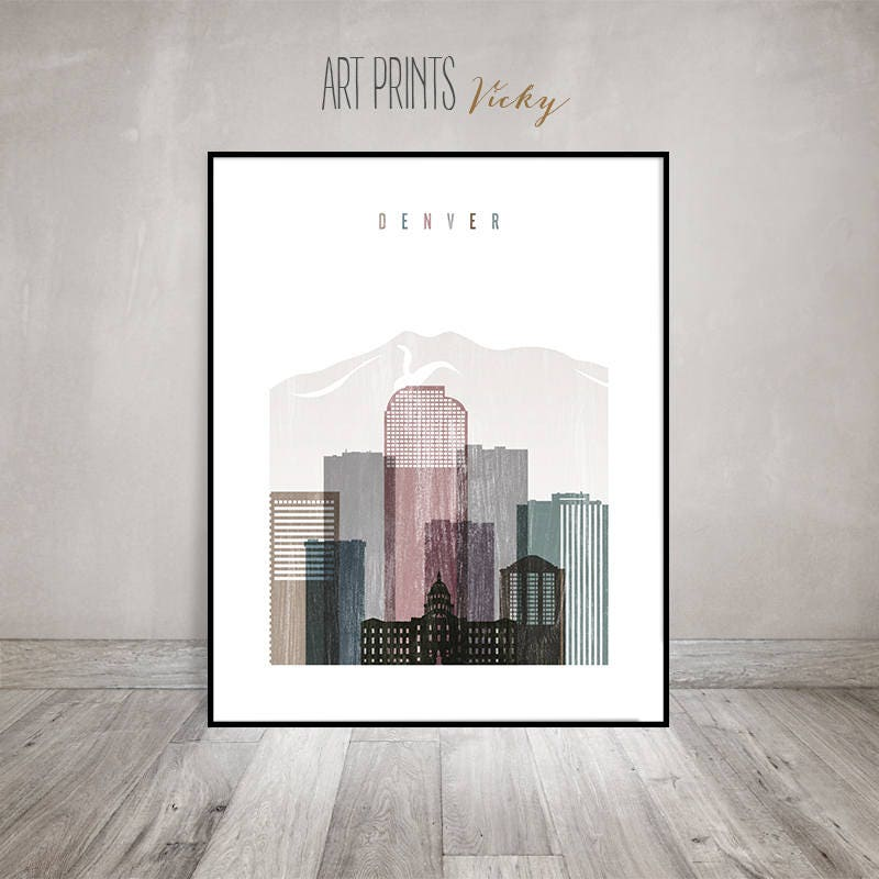 Denver Skyline Art, Denver Print, Poster, Travel Gift, Wall Art, Colorado Art, Distressed Art