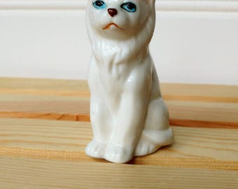 White Porcelain Cat with Blue eyes