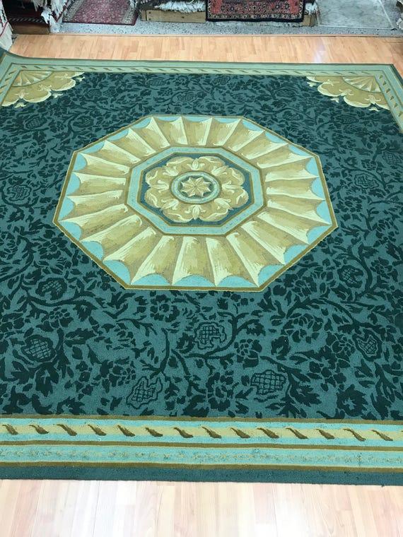 "9'9"" x 9'9"" Square Hokanson Oriental Rug - Dark Green - Hand Made - 100% Wool"