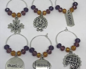 Set of 6 Fall / Thanksgiving wine glass charms