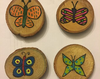 Butterfly Magnet Set, Stocking Stuffer, Gift Idea, Under 15, Hand Painted Magnets, Wood Magnets
