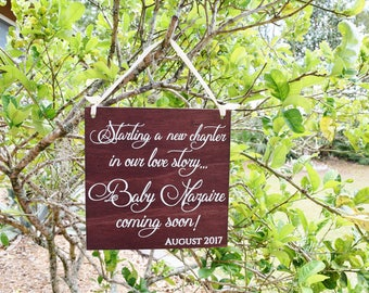 Starting a New Chapter in our Love Story - We're EXPECTING! PERSONALIZED last name and due date Pregnancy Announcement Sign Photo Prop