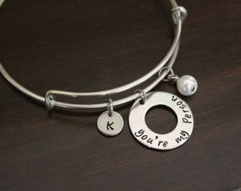 Hand Stamped Bangle Bracelet - You're My Person Bangle - I Love You Bangle - Wife Gift - Special Person Gift - You're My Person - I/H&B