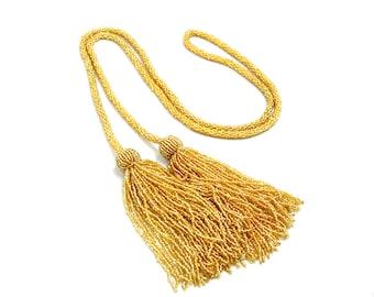 "Vintage 1920s Art Deco Tassel Flapper Gold Yellow Glass Seed Bead Sautoir 58"" Long Necklace"