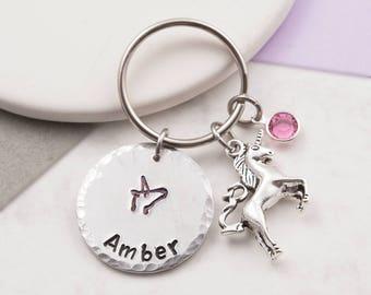 Unicorn keychain, unicorn keyring, custom keychain, personalized keyring, birthstone keychain, unicorn gift, name keychain, birthday gift