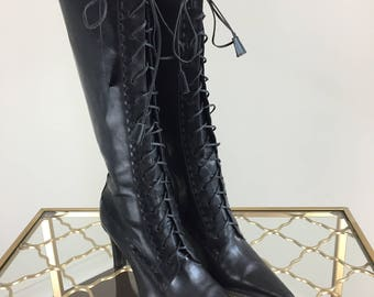 "1990s Black Leather Lace Up Boots - Tall High Heel Leather Boots - Pointy Toe - Ann Taylor - Size 6 - Made in Italy 3"" Heel - Vintage"