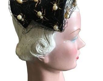 1950s Bes Ben Hat with Pearl Spiders / Ants