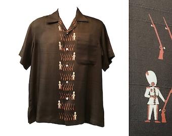 1950s Gilbert Adrian Men's Novelty Print Silk Shirt Queens Guard